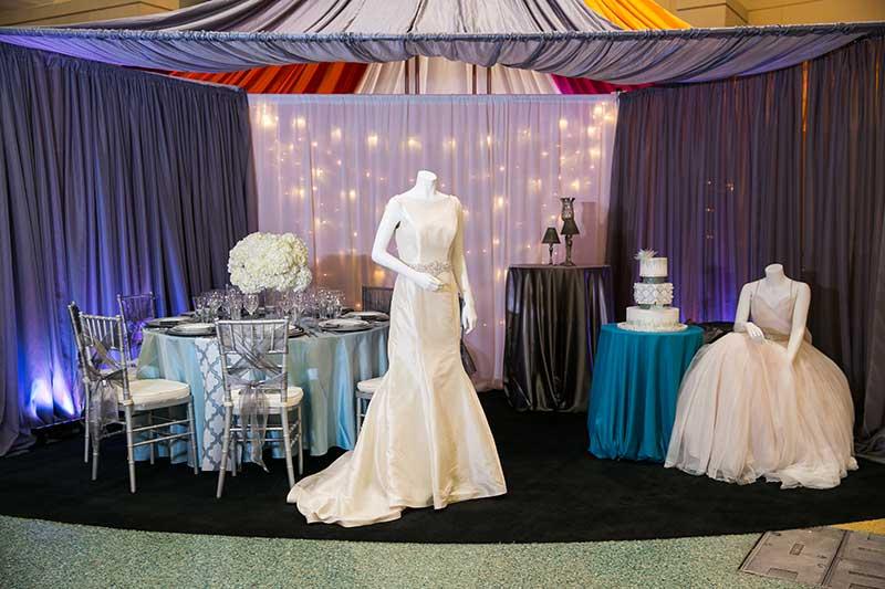 Bridal show winter inspiration stations wedding reception setup