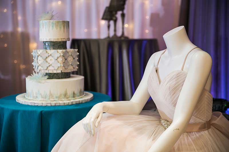 Wedding dress and wedding cake