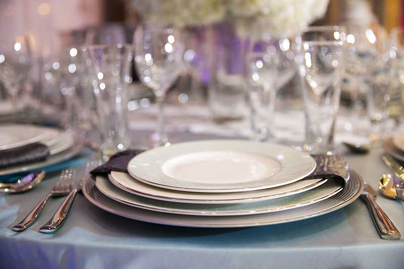 White and silver wedding plates