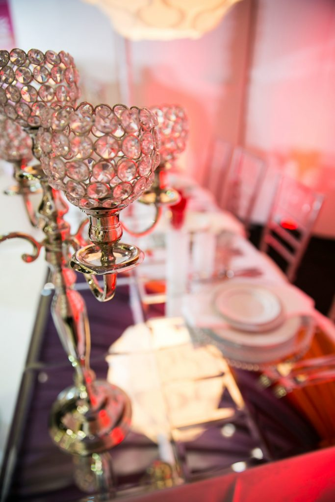 Tall silver wedding centerpiece