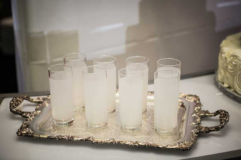 High ball frosted white glasses for wedding reception
