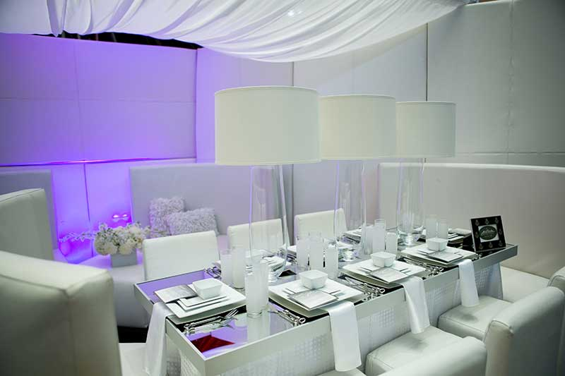 All white wedding reception set up Twin Cities Bridal Show 2021