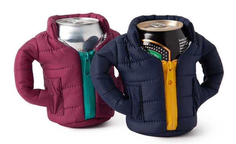 Beer coozie shaped as a winter coat