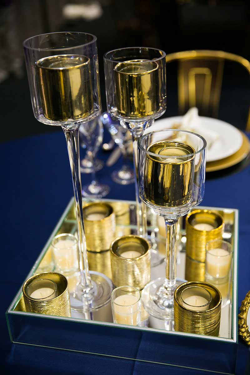 Gold votive candle holders wedding decor