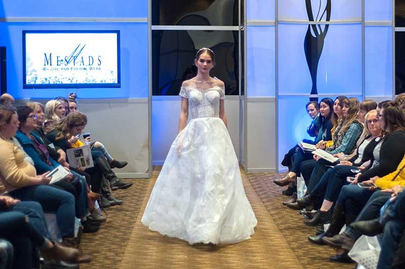 Model walks bridal runway in Rochester, Minnesota