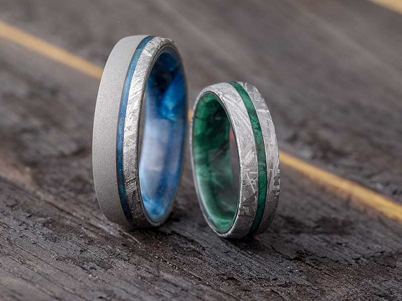 Blue and green and silver meteorite wedding rings by Jewelry by Johan