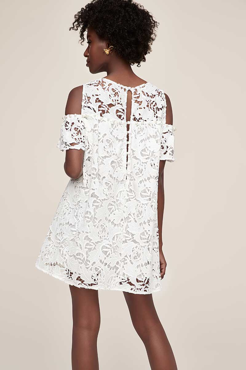 Guipure lace off-the-shoulder above the knee white dress