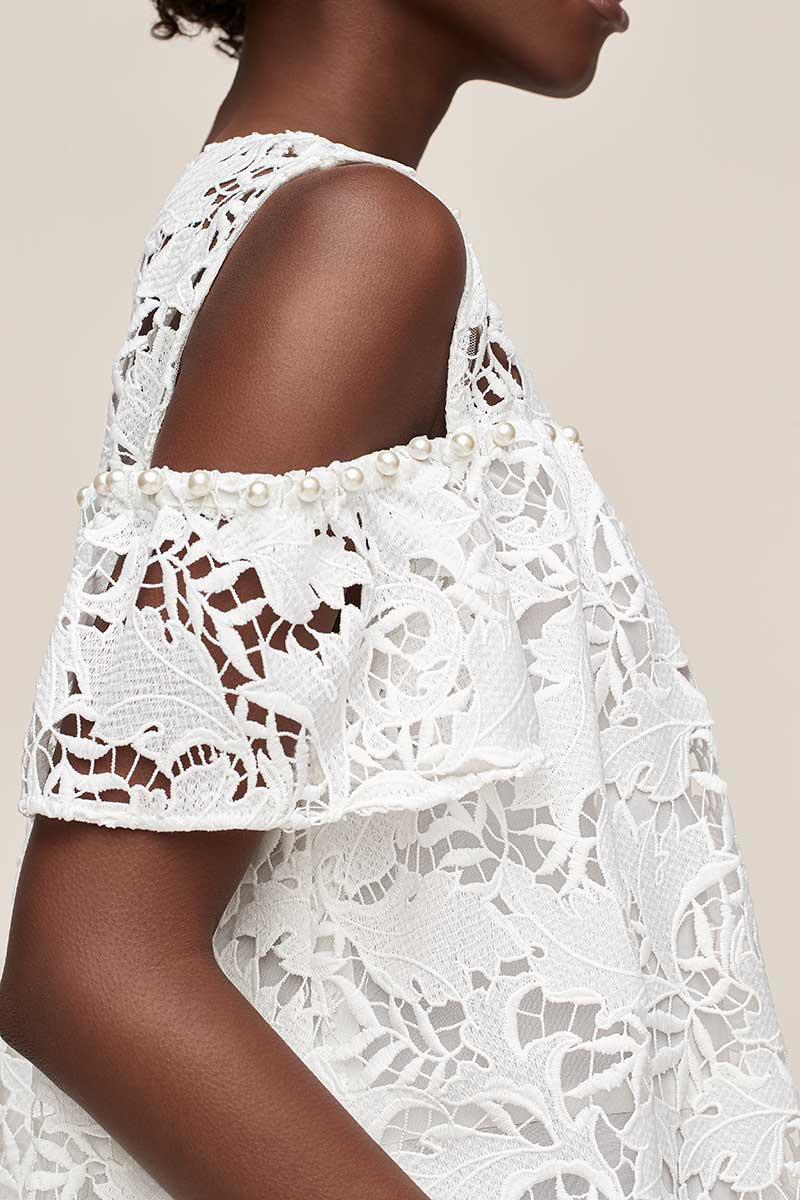 Guipure lace short white wedding event dress