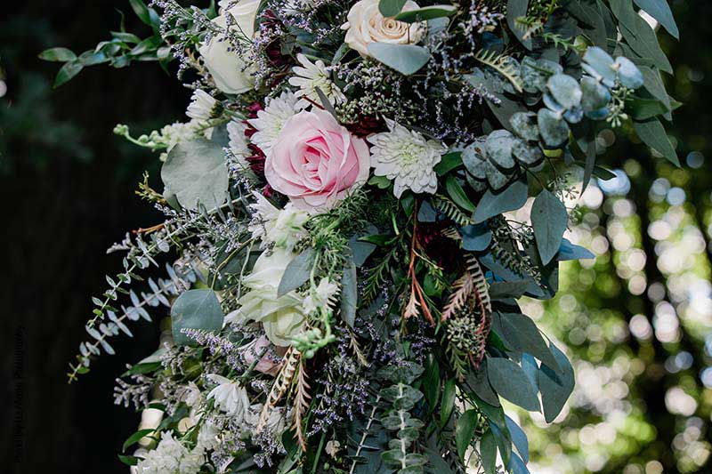 Blush and white rose floral arch decor with eucalyptus