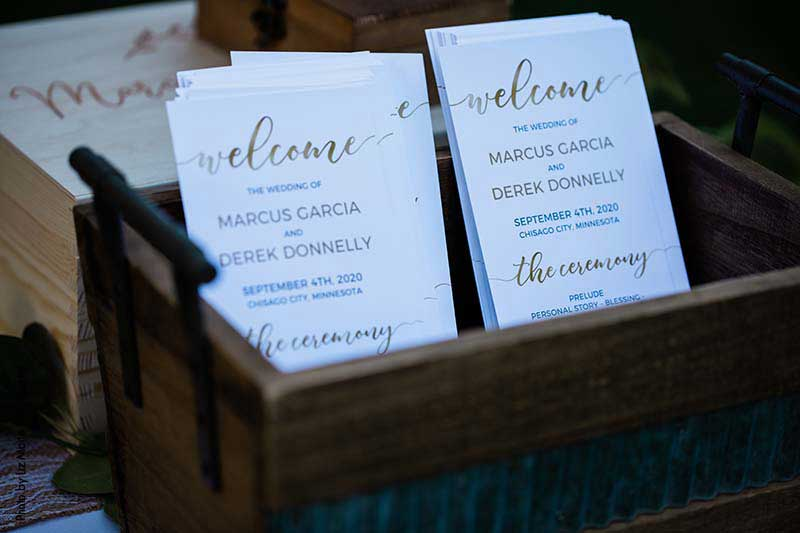 Gold and white wedding ceremony programs
