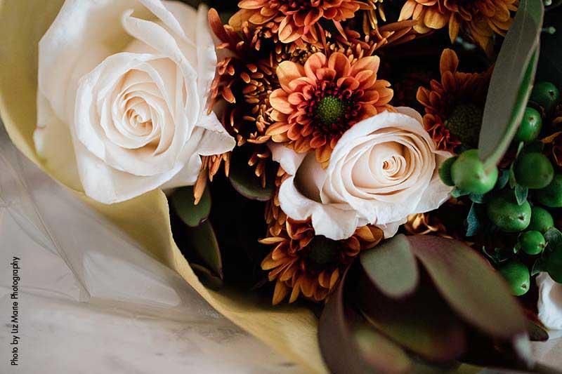 Blush and orange wedding bouquet
