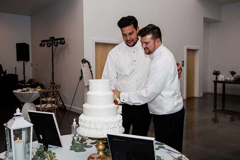 Grooms cut cake at wedding reception