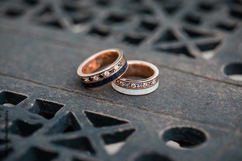 Rose gold multicolored groom's wedding rings