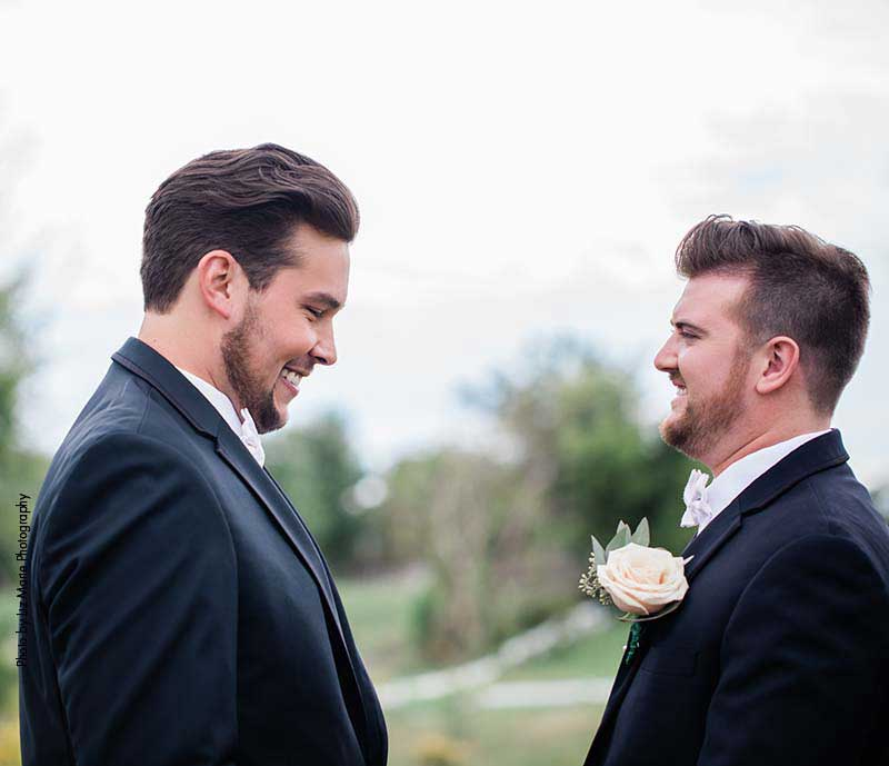 Two grooms share first look
