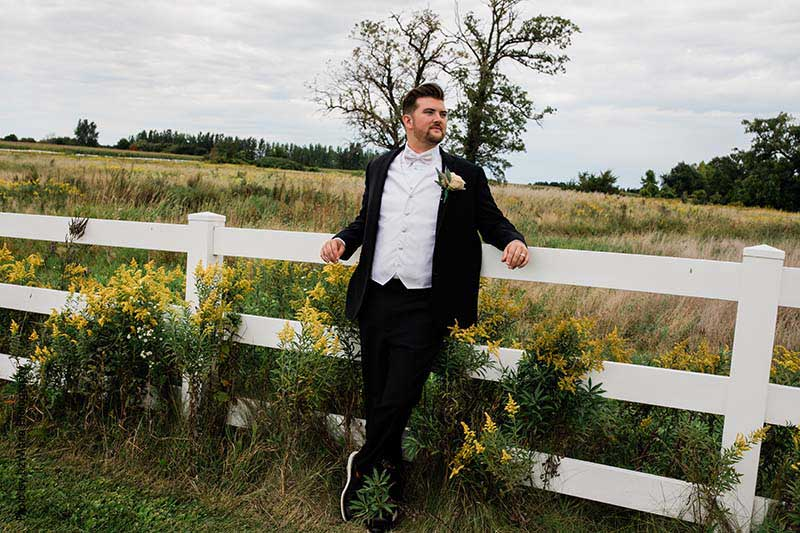 Simple black and white tux