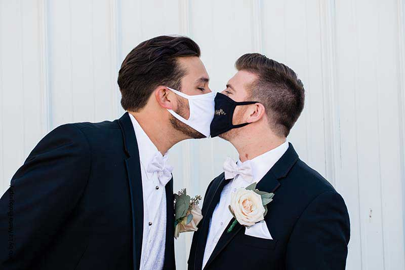Grooms wear masks for wedding during a pandemic