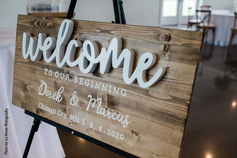 Wood wedding welcome sign with 3-D letters