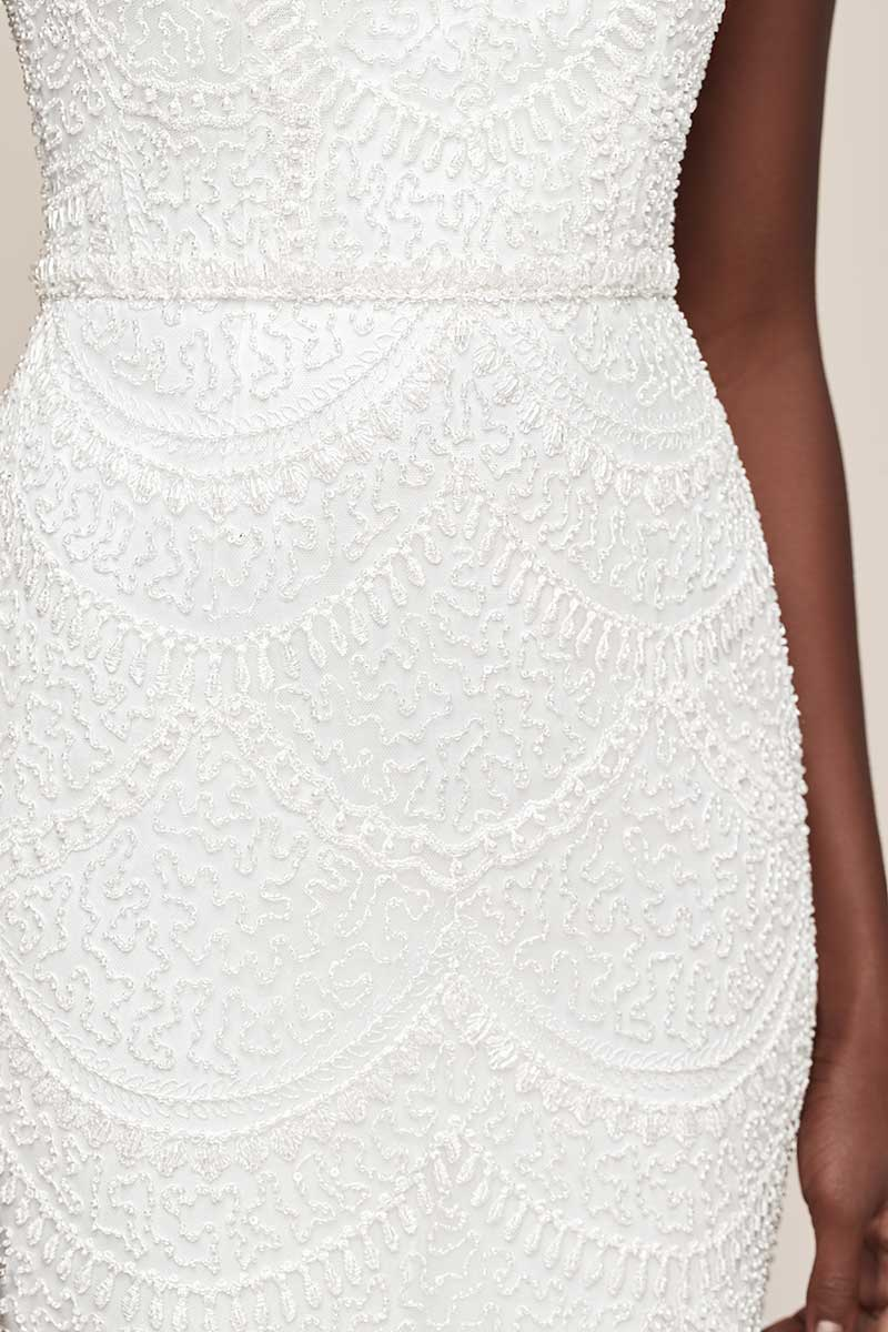 beaded embroidered lace v-neck wedding reception dress
