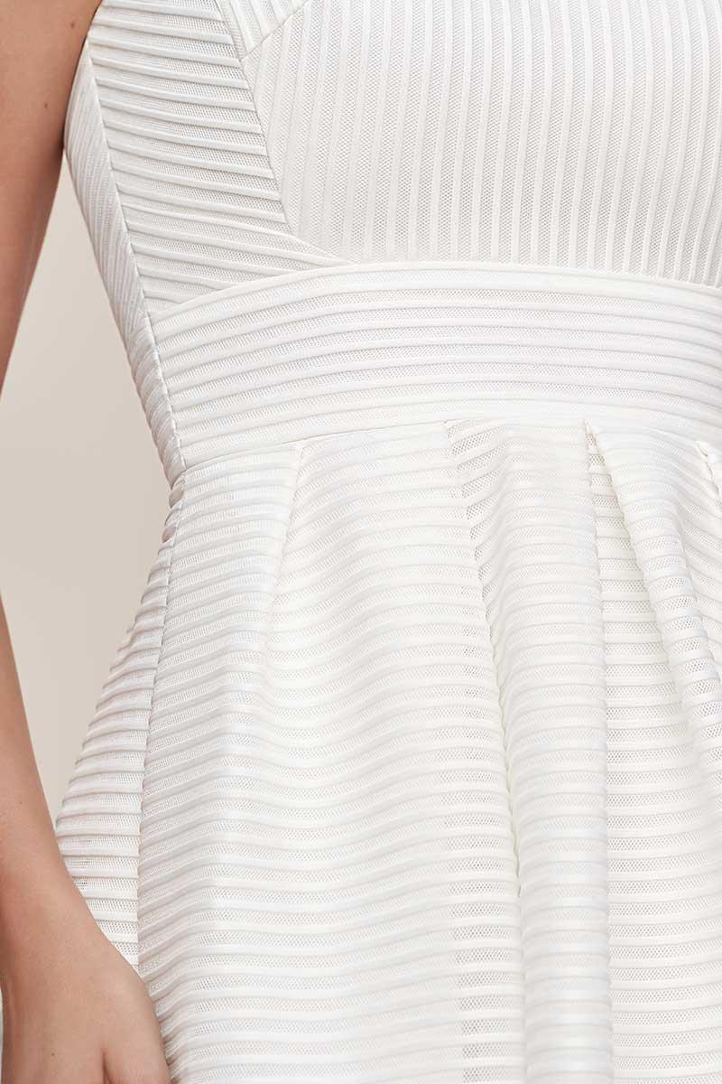 Mini white wedding event dress with white stripes
