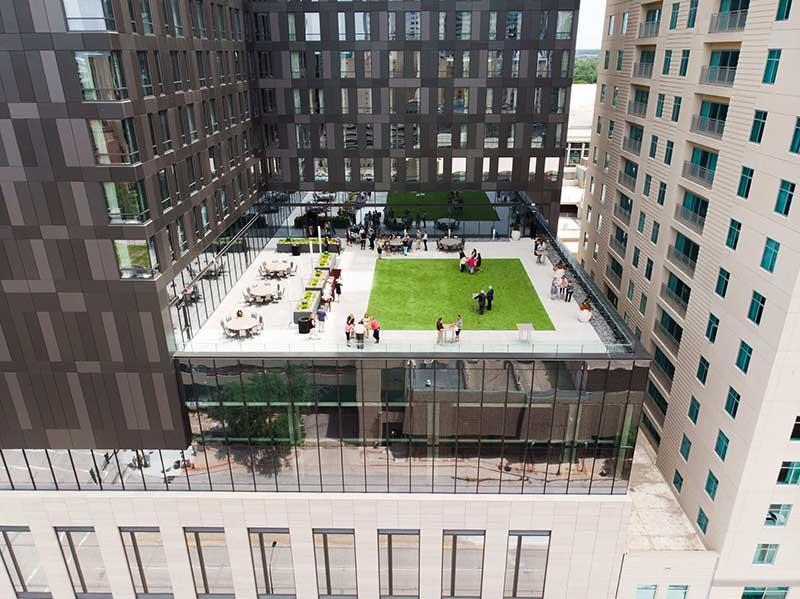 Rooftop deck at wedding venue
