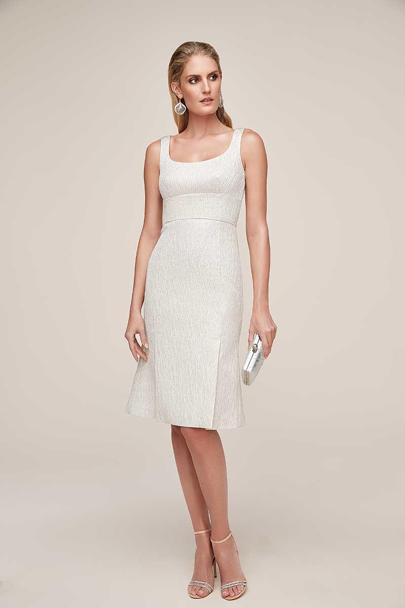 Scoop neck metallic jacquard minimalist white wedding event dress