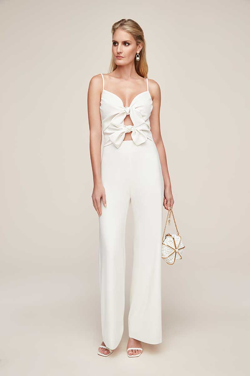 Stretch crepe bodice with bows white jumpsuit