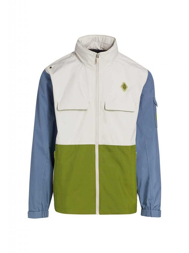 Men's winter jacket with blue sleeves and color blocked with white on top and green on bottom