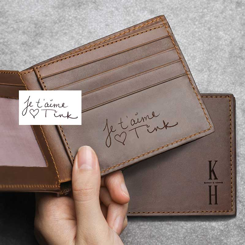Custom engraved leather wallet in brown