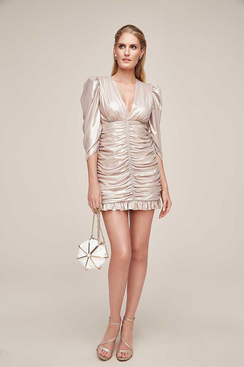 Champagne chiffon short bachelorette dress