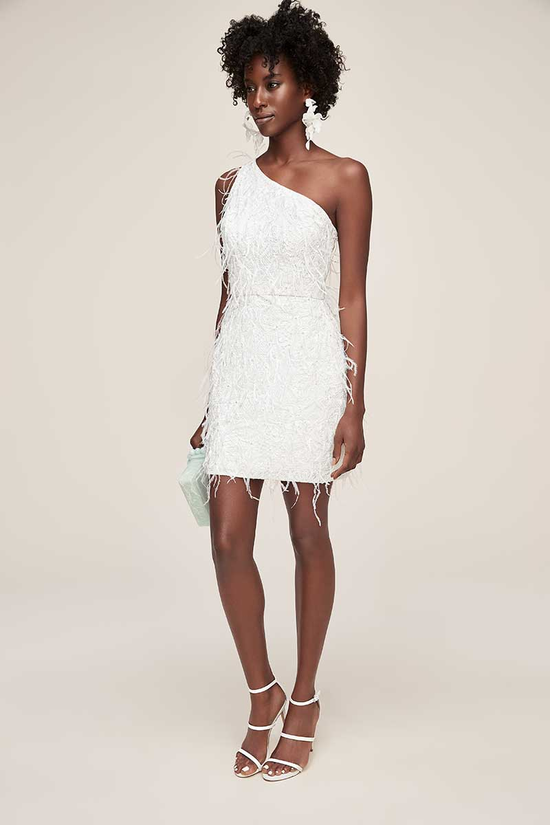 Above-the-knee, one-shoulder fringe white wedding dress with feathers