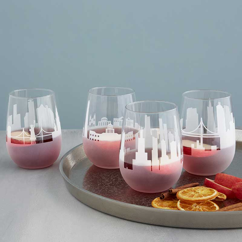 Throw a fun couples shower with a city skyline stemless wine glass as a favor