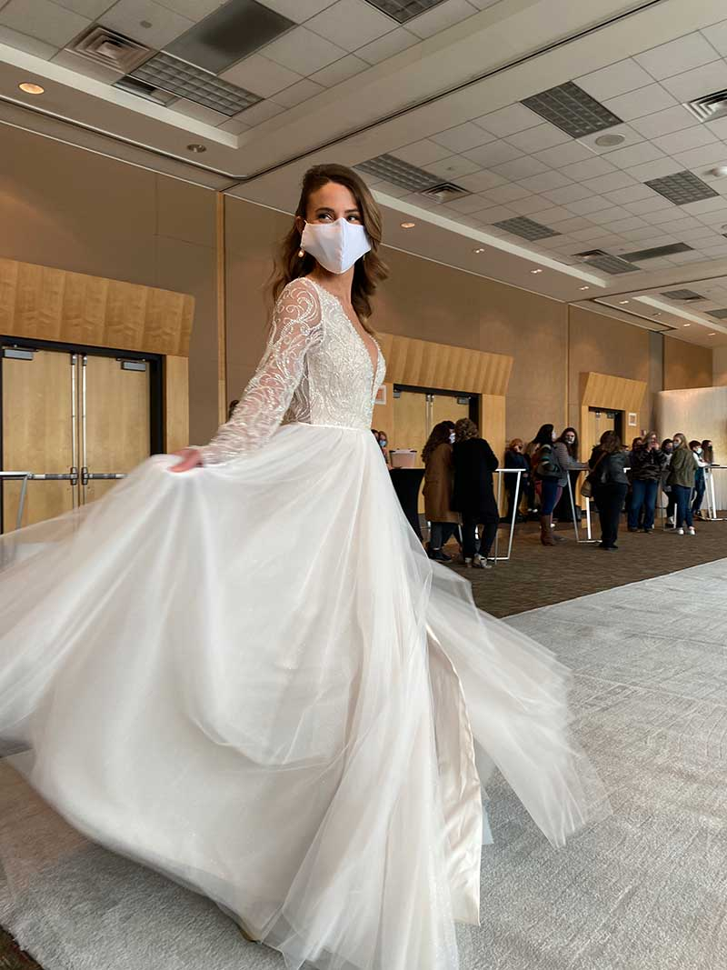 Long sleeve ballgown on twin Cities Bridal Show runway