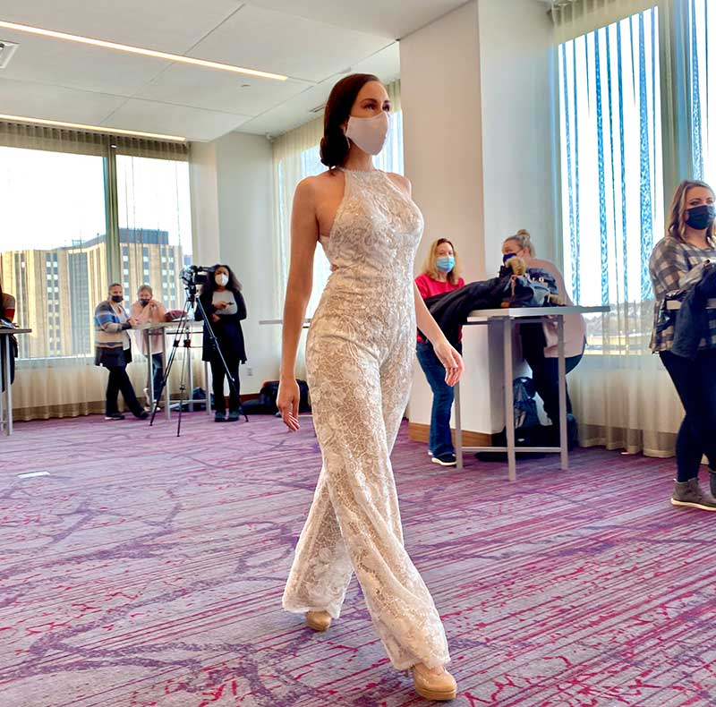 Bridal pantsuit on Unveiled rochester 2021 runway