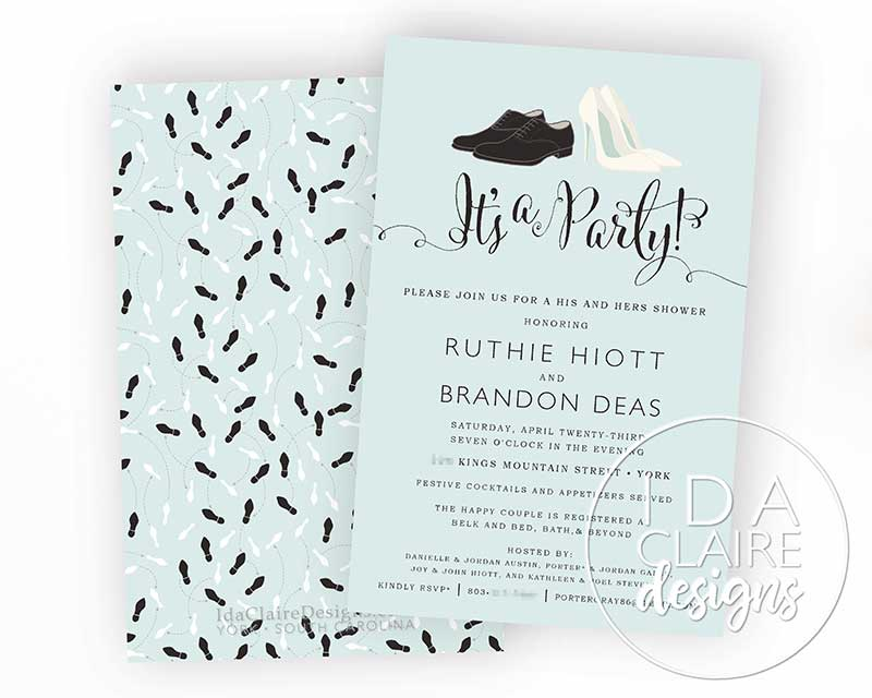 """Blue """"his and hers"""" couple shower invitation"""