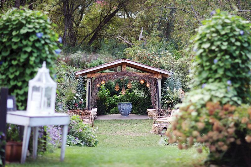 Backyard wedding setup