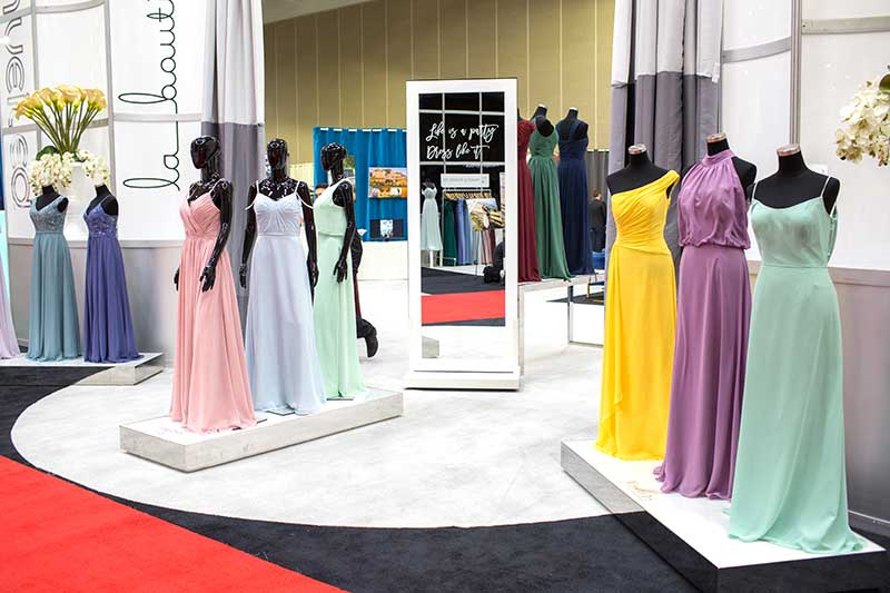 Gallery of bridesmaids dresses at the luxury Minneapolis bridal show
