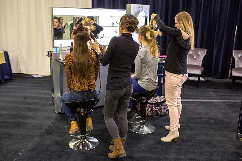Wedding hair trial at bridal show in Minneapolis