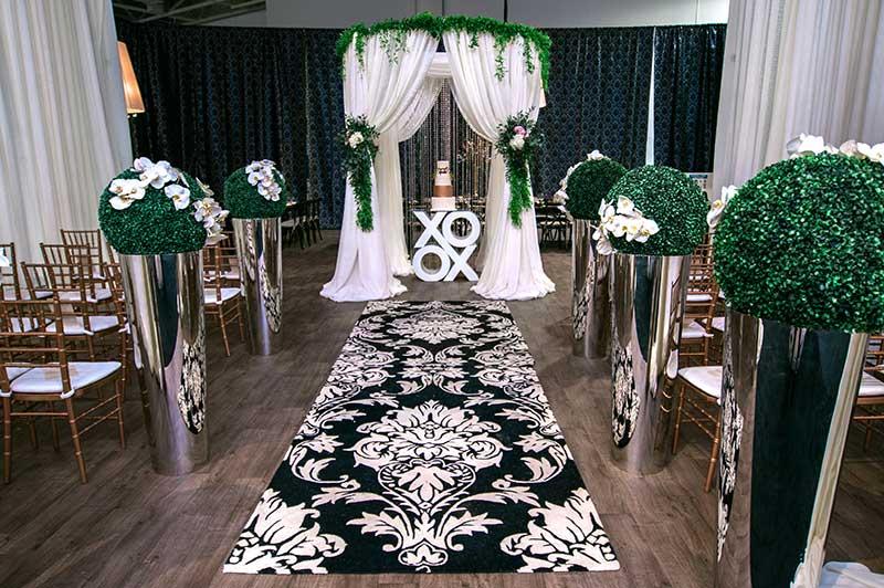black and white wedding ceremony setup