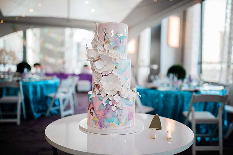 3-tiered cotton candy inspired wedding cake