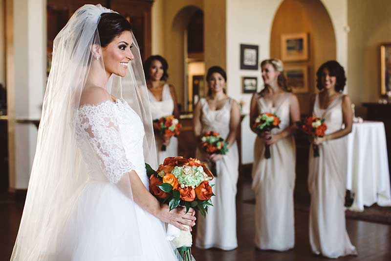 Bride shares firsts look with bridesmaids in Minneapolis