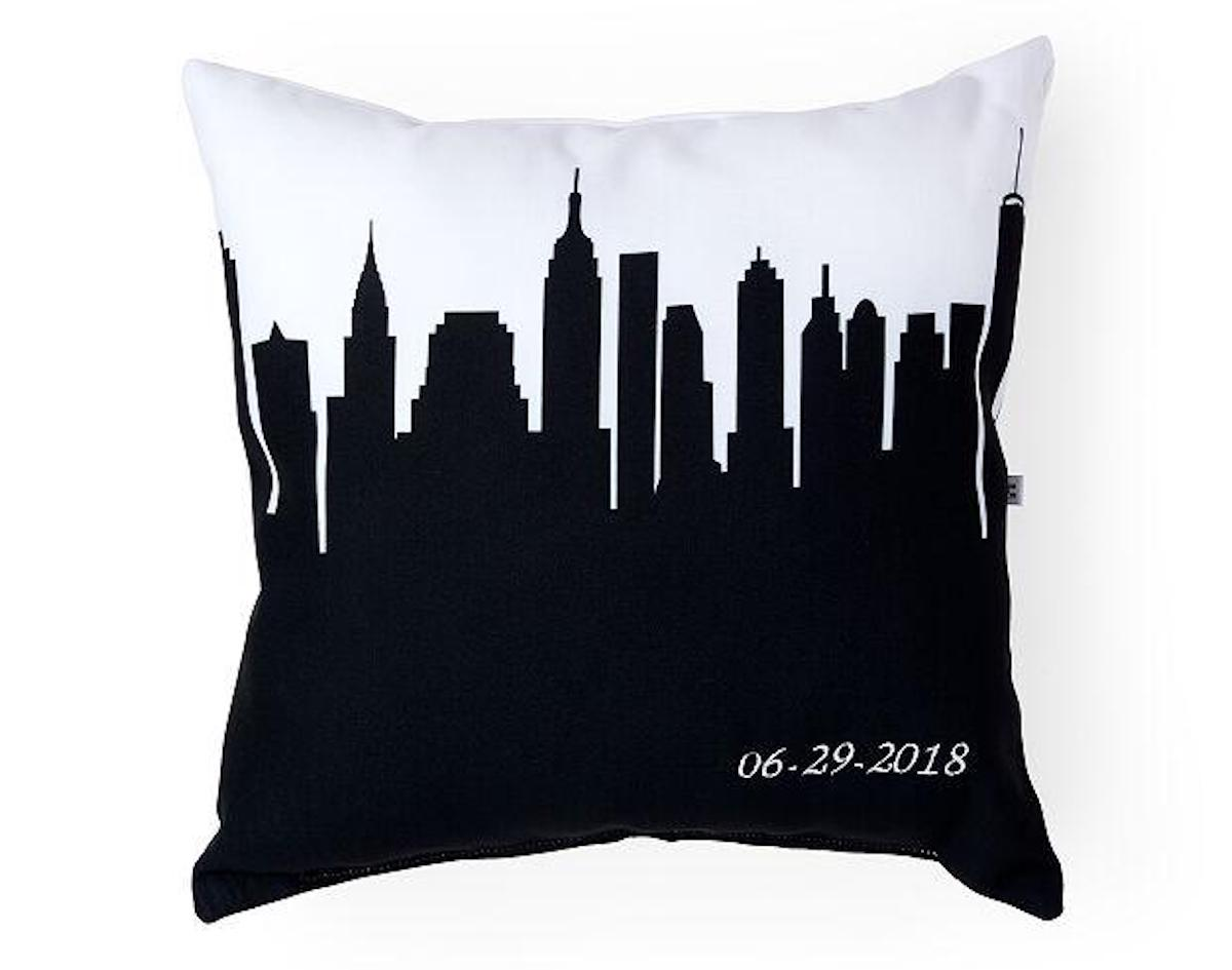 Cityscape pillow for couples shower gift