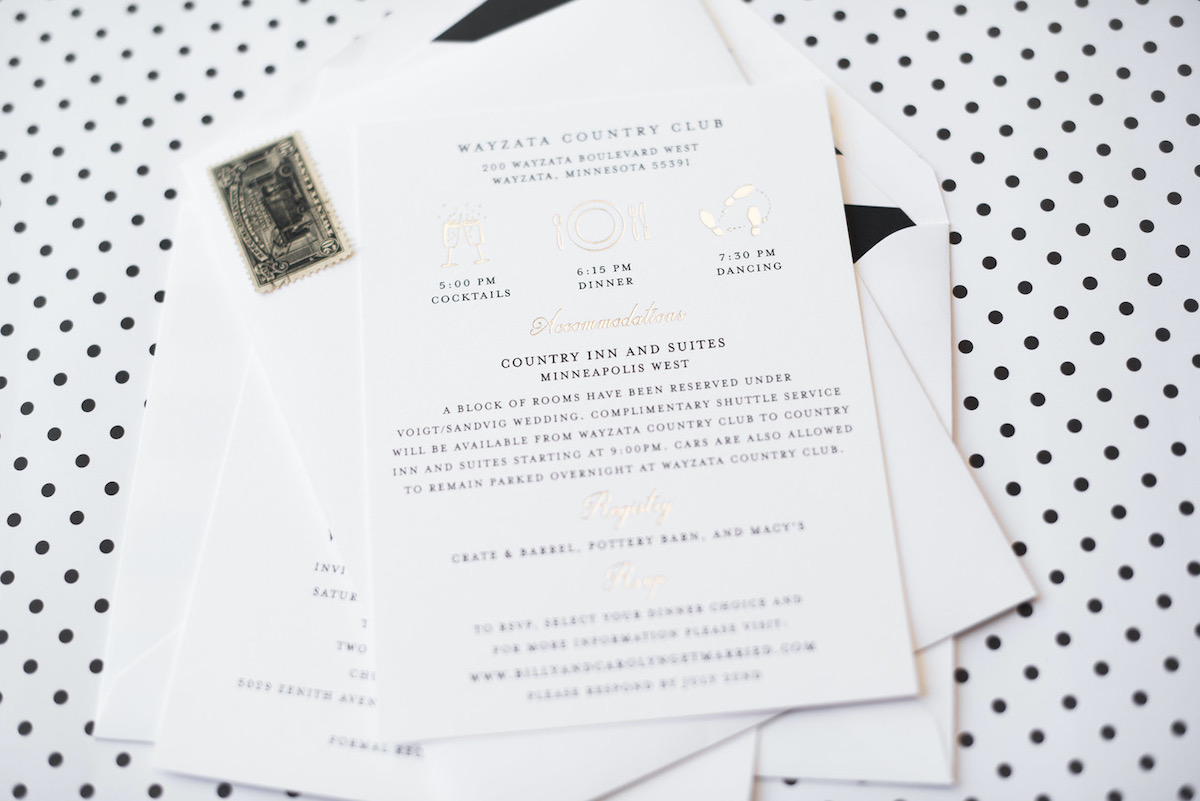Black, white and gold wedding details card