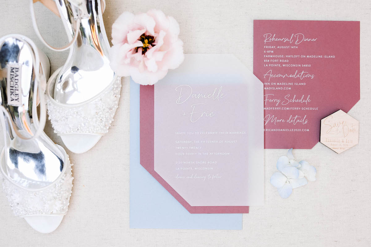 Soft red and pale blue wedding invitation