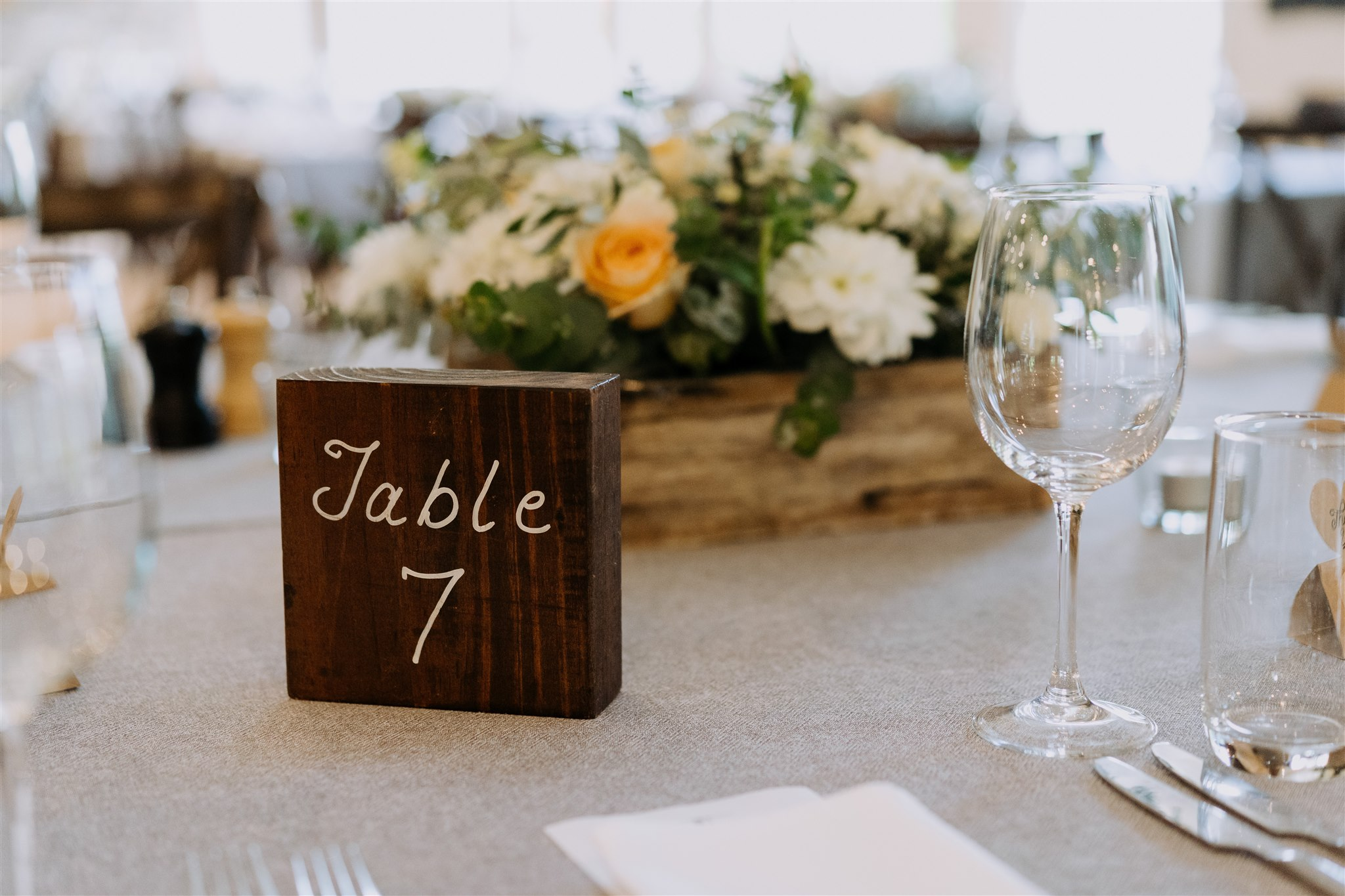 Hand-painted wood wedding table number