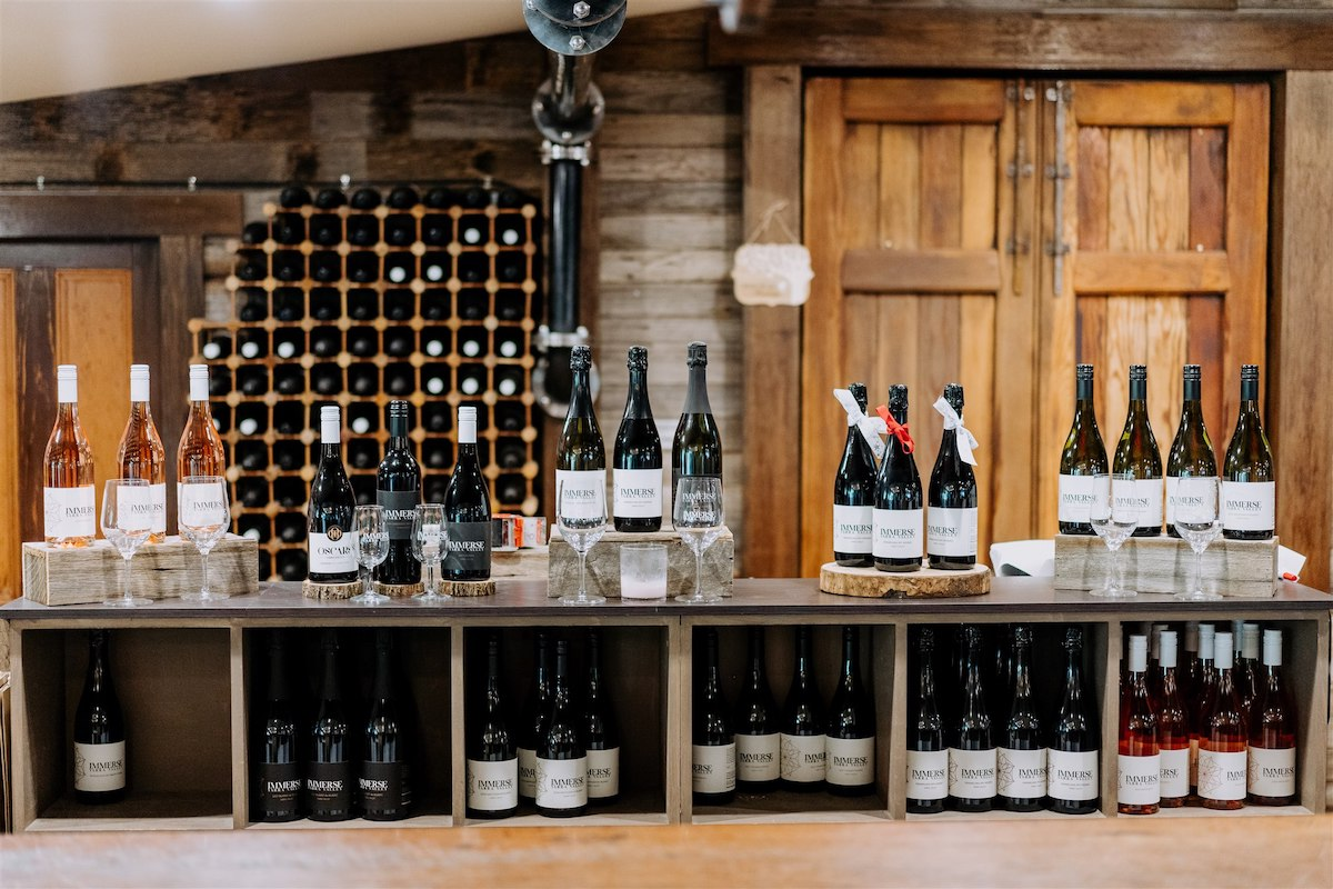 Wine selection at rustic wedding