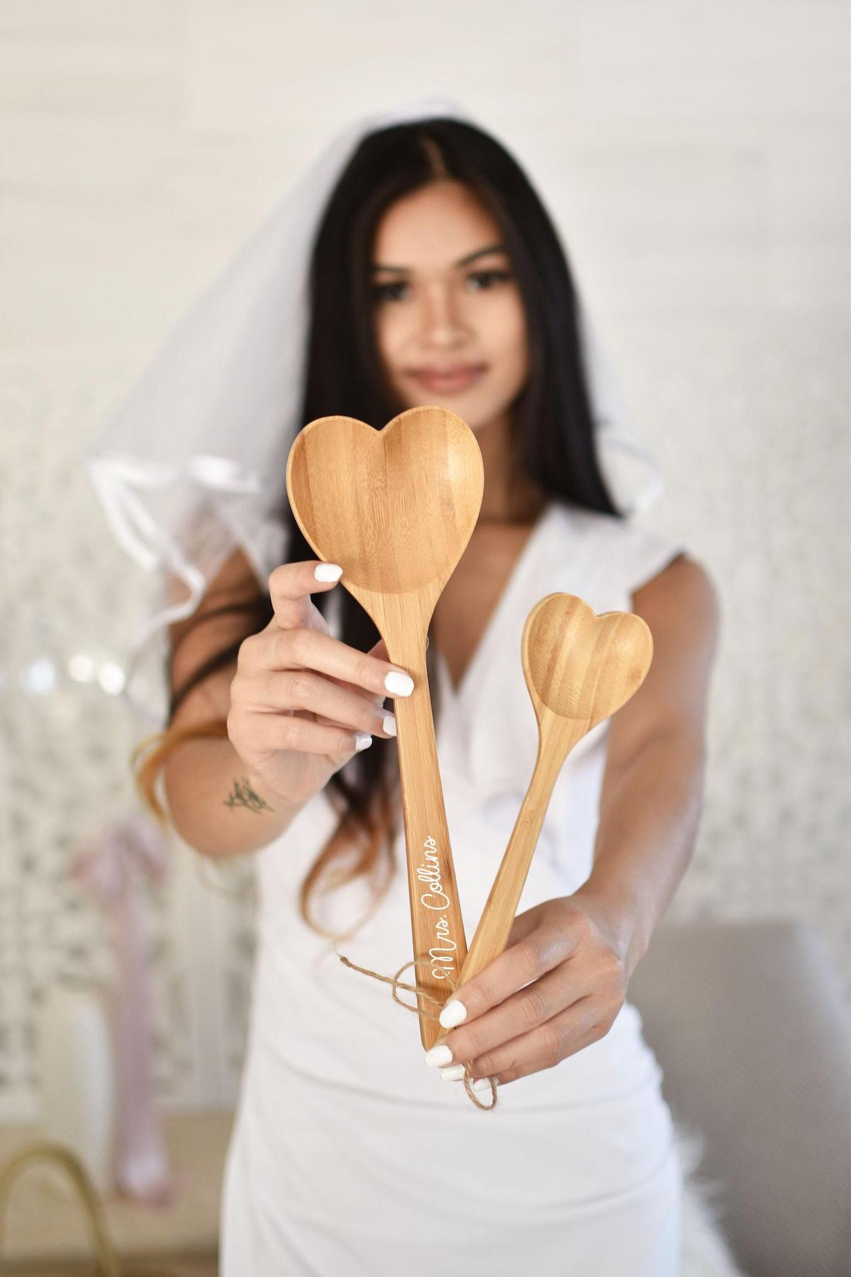 Heart-shaped wooden spoons for the newlyweds