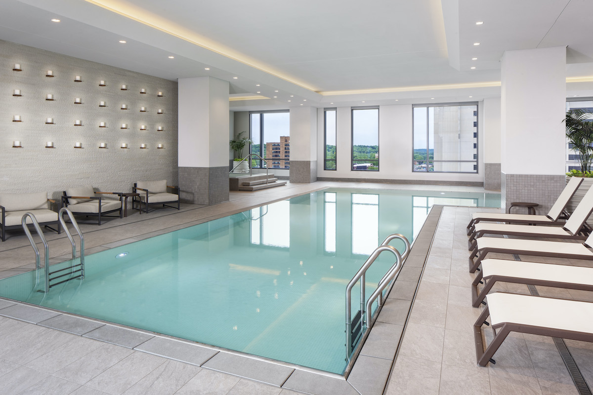 Downtown Rochester Hilton Rochester Mayo Clinic Area infinity pool and spa room