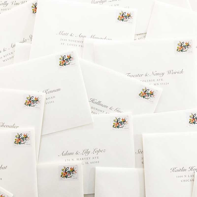 Classic off-white wedding invitation envelope