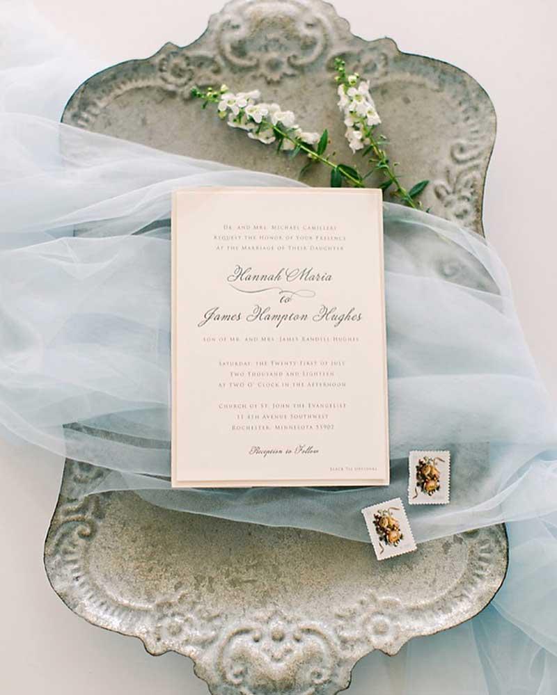 Off-white vintage wedding invite