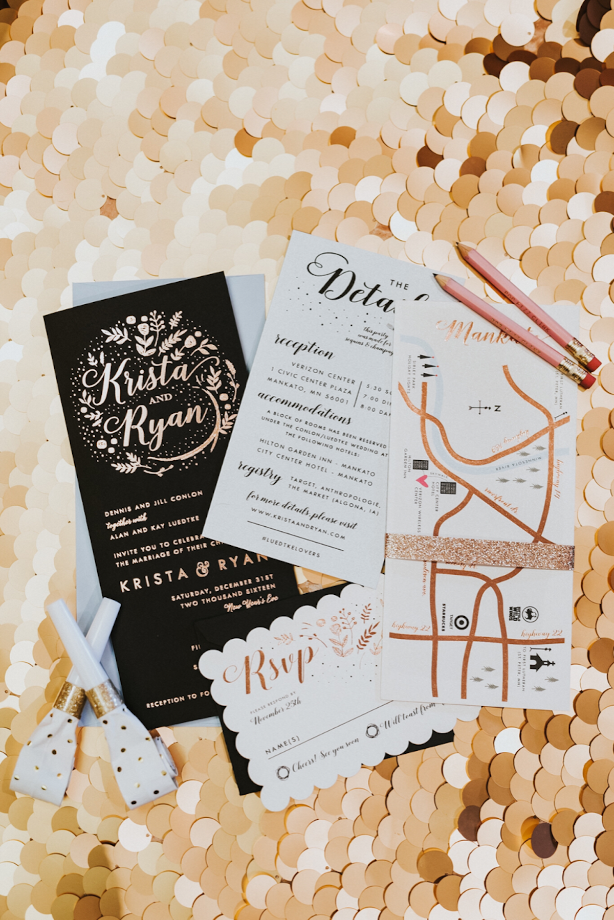 Black, white and rose gold wedding invitation suite